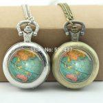 WholesaleGlobe Pocket Watch Planet Earth <b>Jewelry</b> Photo Locket Necklace Silver <b>Antique</b> Pocket Watch Necklace