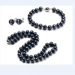 New 10-11mm natural tahitian black pearl necklace bracelet <b>earring</b> set white
