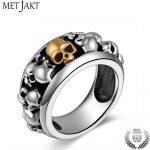 MetJakt Handmade Men's Punk Rock Skull Rings Solid S925 <b>Sterling</b> <b>Silver</b> Ring for Man and Boy Vintage Thai <b>Silver</b> <b>Jewelry</b>