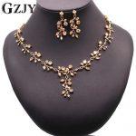 GZJY Luxury Bridal Charm Gold Color Flowers Champagne Zircon <b>Jewelry</b> Sets For Women Wedding Party <b>Jewelry</b> Gift Bijouterie
