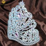 Gorgeous Miss Pageant Large Tiara Crown Pink AB Rhinestones Crystal Wedding Bridal Headband Hair <b>Jewelry</b>