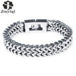 Jiayiqi <b>Fashion</b> Men <b>Jewelry</b> 316L Stainless Steel Link Chain Bracelets Bangles Punk Silver Color Wide Wristband Charm Gifts