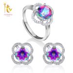 NYMPH Genuine Topaz Crystal Rings <b>Earrings</b> 925 Sterling <b>Silver</b> Jewlery Set For Women Round Mystic Wedding Gift T238EJ
