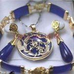 real Women's Wedding Wholesale noble purple stone lucky pendant Earrings Bracelet sets silver-<b>jewelry</b>