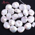 14-16mm Coin White Freshwater Pearl Beads Natural Stone Beads For DIY Necklace Bractlaes Earring <b>Jewelry</b> <b>Making</b> 15″Free Shipping