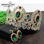 HIMSTORY Luxurious Baroque Green Rhinestones Crown Queen Hair Ornaments Prom <b>Jewelry</b> Bridal <b>Wedding</b> Studio Hair Accessories