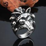Kalen Rock Animal Male Rings Size 8-12 Stainless Steel Wolf Head <b>Antique</b> Men's Finger Rings Biker Dropshipping <b>Jewelry</b> Rings