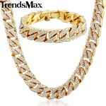 Trendsmax Hiphop Miami Curb Cuban Womens Mens Necklace <b>Bracelet</b> Jewelry Set Bling Iced Out Gold <b>Silver</b> Color 14mm GS259