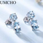 UMCHO 100% Natural Sky Blue Topaz Gemstone Drop <b>Earrings</b> 925 Sterling <b>Silver</b> Korean Gemstone <b>Earrings</b> For Women Fine Jewelry