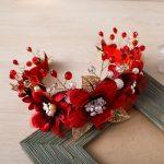 Gorgeous Red Yarn Flower Headband Crown Tiara Princess Gold Color Hairband Hair <b>Jewelry</b> Bridal Wedding Party Women Headpiece New