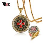 Vnox Maltese Cross <b>Jewelry</b> Sets for Men Gold Color Stainless Steel <b>Necklace</b> and Ring Religious <b>Jewelry</b> Set