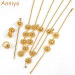 Anniyo Ethiopian Set <b>Jewelry</b> Habesha <b>Necklace</b>/Earring/Ring/Hair Pice/Head Chain/Bracelet Gold Color African Bridal #060102
