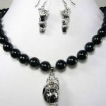 Women's Wedding Fashion beautiful 10mm black gem dragon earring pendant Necklace set 5.23 silver-<b>jewelry</b> moda silver-<b>jewelry</b>