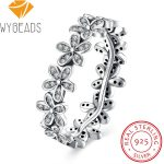 WYBEADS 100% 925 Sterling Silver Dazzling Daisy Meadow Rings With Cubic Zirconia For Women Ring Finger Original <b>Jewelry</b> Making