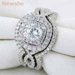 Newshe 2.1Ct 3Pcs Solid 925 Sterling Silver <b>Wedding</b> Ring Sets Engagement Band Gift <b>Jewelry</b> For Women Size 5 6 7 8 9 10