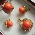 wholesale choker <b>jewelry</b> sets for women anime Wedding Orange shell pendants earrings rings set AAA Plated Bridal wide watch