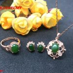 KJJEAXCMY boutique jewels Colorful jewelry 925 <b>silver</b> inlaid with natural jasper female pendant ring <b>earrings</b> 3