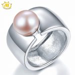 Hutang Pearl <b>Jewelry</b> Big Band Pink Natural Freshwater Cultured Pearl Solid 925 Sterling <b>Silver</b> Rings For Women Fine <b>Jewelry</b> Gift