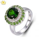 Hutang Russia Emerald Chrome Diopside Halo Ring Solid 925 <b>Sterling</b> <b>Silver</b> Women's Natural Gemstone <b>Jewelry</b> 2017 New Arrival