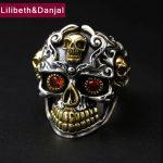 2017 Men Ring 925 <b>Sterling</b> <b>Silver</b> <b>Jewelry</b> Vintage Punk Inlaid Ruby Skull Adjustable Finger Ring Christmas Gift Fine <b>jewelry</b> FR58