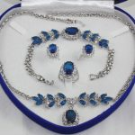 Prett Lovely Women's Wedding Inlay Blue crystal stone Necklace Bracelet Ring Earring set no box silver-<b>jewelry</b>
