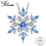 JewelryPalace Snowflake Genuine Swis Blue Topaz Solid 925 Sterling <b>Silver</b> Pendant Fine <b>Jewelry</b> for women Not Include the Chain