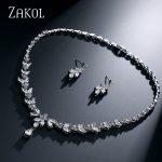 ZAKOL Simple Fashion Leaves Earrings Sliver Color Necklace <b>Weddings</b> <b>Jewelry</b> Sets With AAA+ CZ Zirconia FSSP180