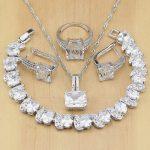 Natural 925 Silver Bridal <b>Jewelry</b> White Zircon <b>Jewelry</b> Sets For Women <b>Wedding</b> Earrings Pendant Necklace Rings Bracelet