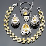 925 Sterling <b>Silver</b> 4PCS Trendy Light Yellow CZ Women Jewelry Sets <b>Bracelets</b>/Earrings/Pendant/Necklace/Rings Free Gift Box