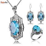 Szjinao 925 <b>Sterling</b> <b>Silver</b> Set Aquamarine ccessories Bride <b>Jewelry</b> Set Dresses for Women Earrings/Pendant/Ring