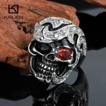 Kalen Punk Red Eye Skull Rings Size 8-12 Male Stainless Steel <b>Antique</b> Men's Skull Finger Rings Biker Dropshipping <b>Jewelry</b> Rings