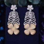 GODKI Monaco Designer 63mm Luxury Popular Flower Boom Full Mirco Paved Cubic Zirconium Naija <b>Wedding</b> Earrings Fashion <b>Jewelry</b>