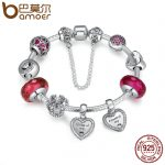 BAMOER 925 <b>Sterling</b> <b>Silver</b> Friendship Forever Heart Pink CZ Safety Chain Women Charm Bracelet <b>Sterling</b> <b>Silver</b> <b>Jewelry</b> PSB014
