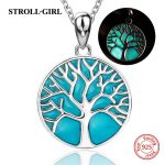 Sterling silver 925 tree of life pendant chain necklace with glowing enamel diy European fashion <b>jewelry</b> <b>making</b> for women gifts