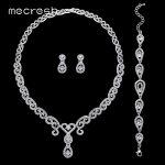 Mecresh 3Pcs/Set Luxury CZ Wedding <b>Jewelry</b> Sets Silver Color Crystal Heart Necklace Sets Bridal Bridesmaid <b>Jewelry</b> MTL484+SL022