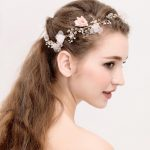Gold Crystal Pink Yarn Floral Flower Bride Headband Princess Pearl <b>Wedding</b> Hair <b>Jewelry</b> Hair Accessories Hairwear For Women