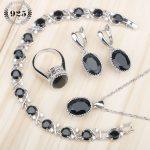 Oval Black Zircon Women Costume <b>Silver</b> 925 Jewelry Sets Earrings Pendant Necklace <b>Bracelet</b> Rings Earrings With Stones Gift Box