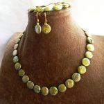 "Women's Wedding >> 18"" 14MM Green Coin Freshwater Pearl Necklace Bracelet Earring Set real"
