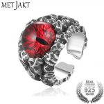 MetJakt Solid Real 925 <b>Sterling</b> <b>Silver</b> Ring & Hyperbole Ghost Eye Open Ring for Men Vintage Punk Rock Thai <b>Silver</b> <b>Jewelry</b>