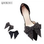 QOOKOO I Korean Style Silk Bowknot Shoes Clip Buckle Accessories <b>Handmade</b> Rhinestone Crystal Shoes Button Bowtie Decorations