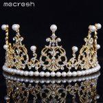 Mecresh Simulated Pearl Bridal Big Tiara Crown Top Crystal Rhinestone Silver/Gold-Color Wedding Hair Accessories <b>Jewelry</b> HG050
