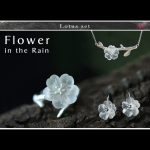 Lotus Fun Real 925 Sterling <b>Silver</b> Handmade Fine Jewelry Flower in the Rain Jewelry Set with Ring Drop <b>Earring</b> Pendant Necklace