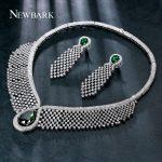 NEWBARK Charms <b>Jewelry</b> Set For Bride Wedding Big Waterdrop Green CZ Stone Earrings For Women With Luxury <b>Necklace</b> Prom Show