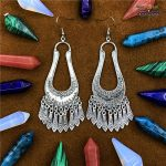 India Gypsy Water Drop Long Earrings Islamic Ancient Silver <b>Handmade</b> <b>Jewelry</b> Thailand Southeast Asian Hippie Tribe <b>Jewelry</b>