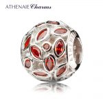 ATHENAIE Genuine 925 Sterling <b>Silver</b> with Red CZ Sparkling Leaves Charm Beads Gift for Birthday, Anniversary Color Red <b>Jewelry</b>