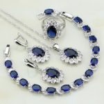 925 Sterling <b>Silver</b> Jewelry Blue Cubic Zirconia White Crystal Jewelry Sets For Women Gift Earring/Pendant/Necklace/<b>Bracelet</b>/Ring