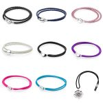 9 Style 925 Sterling <b>Silver</b> Leather Rope Basic <b>Bracelet</b> For Women Clasp Clip Fit Charms Beads & Pendants For Women