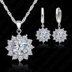 Femmin Austrian Crystal Pendants Necklace And Earrings Set For Women Fine 925 <b>Sterling</b> <b>Silver</b> Bridal Wedding <b>Jewelry</b> Sets
