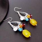 FNJ 925 <b>Silver</b> Tassel <b>Earrings</b> for Women Jewelry Yellow Chalcedony Stone S925 Sterling <b>Silver</b> boucle d'oreille Drop <b>Earring</b>