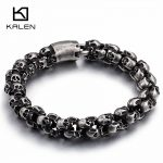 Kalen New Punk Brushed Skull Charm Bracelets For Men Stainless Steel Gothic Matte Black Skeleton Bracelet Male Pub <b>Jewelry</b> 2017